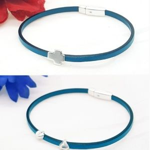 Turquoise Leather Bracelet, hearts or cross charms
